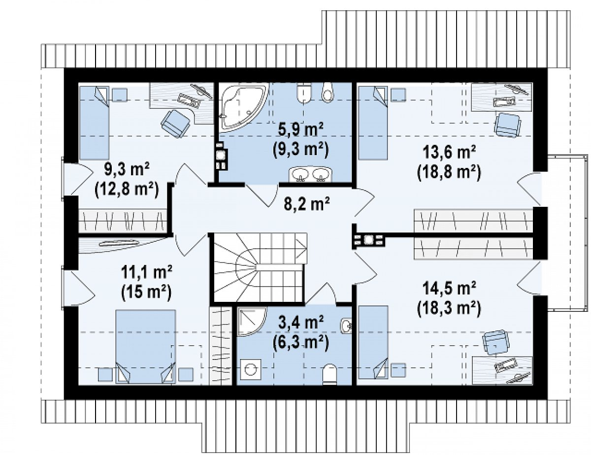 Второй этаж 66,1(88,6м²) дома Z178 a