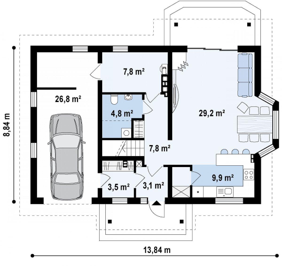 Первый этаж 66,1(92,9м²) дома Z178