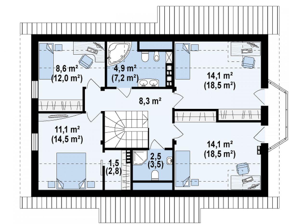 Второй этаж 65,1(85,5м²) дома Z178