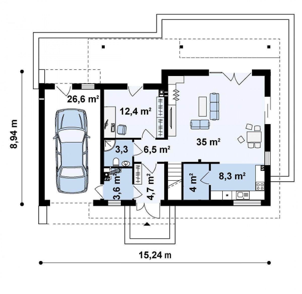 Первый этаж 78,2(104,8м²) дома Z179
