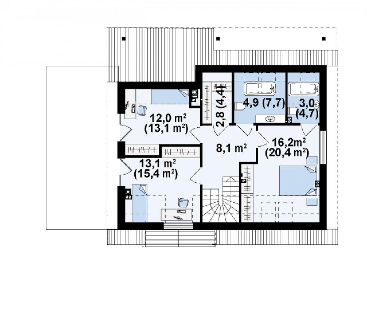 Второй этаж 60,2(73,8м²) дома Z179