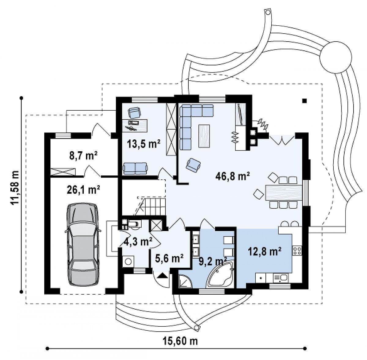Первый этаж 98,9(133,8м²) дома Z18 GL bk