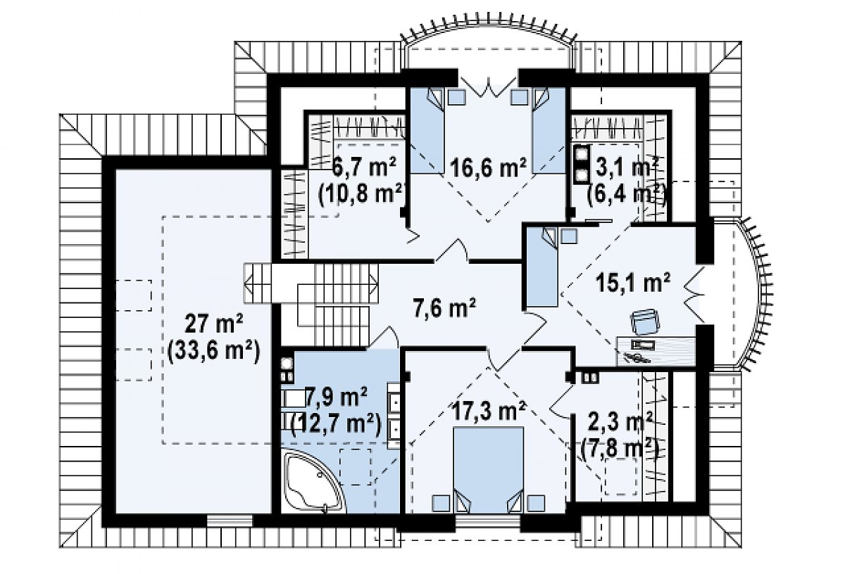 Второй этаж 77,3(94,4м²) дома Z18 GL bk