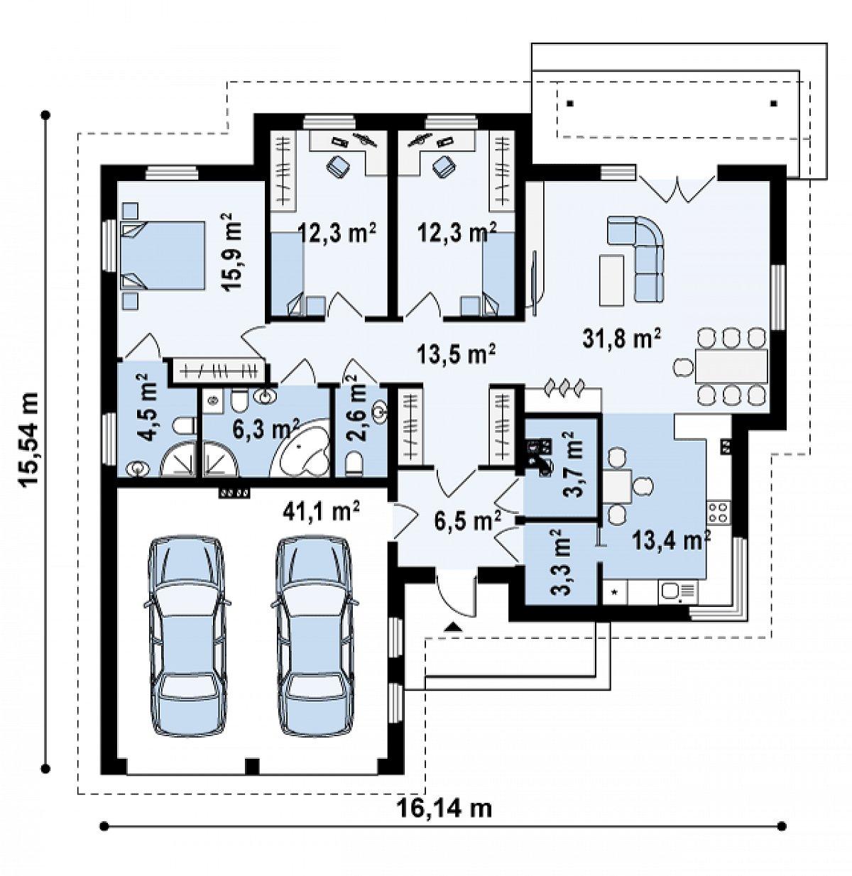 Первый этаж 127,8(168,9м²) дома Z180