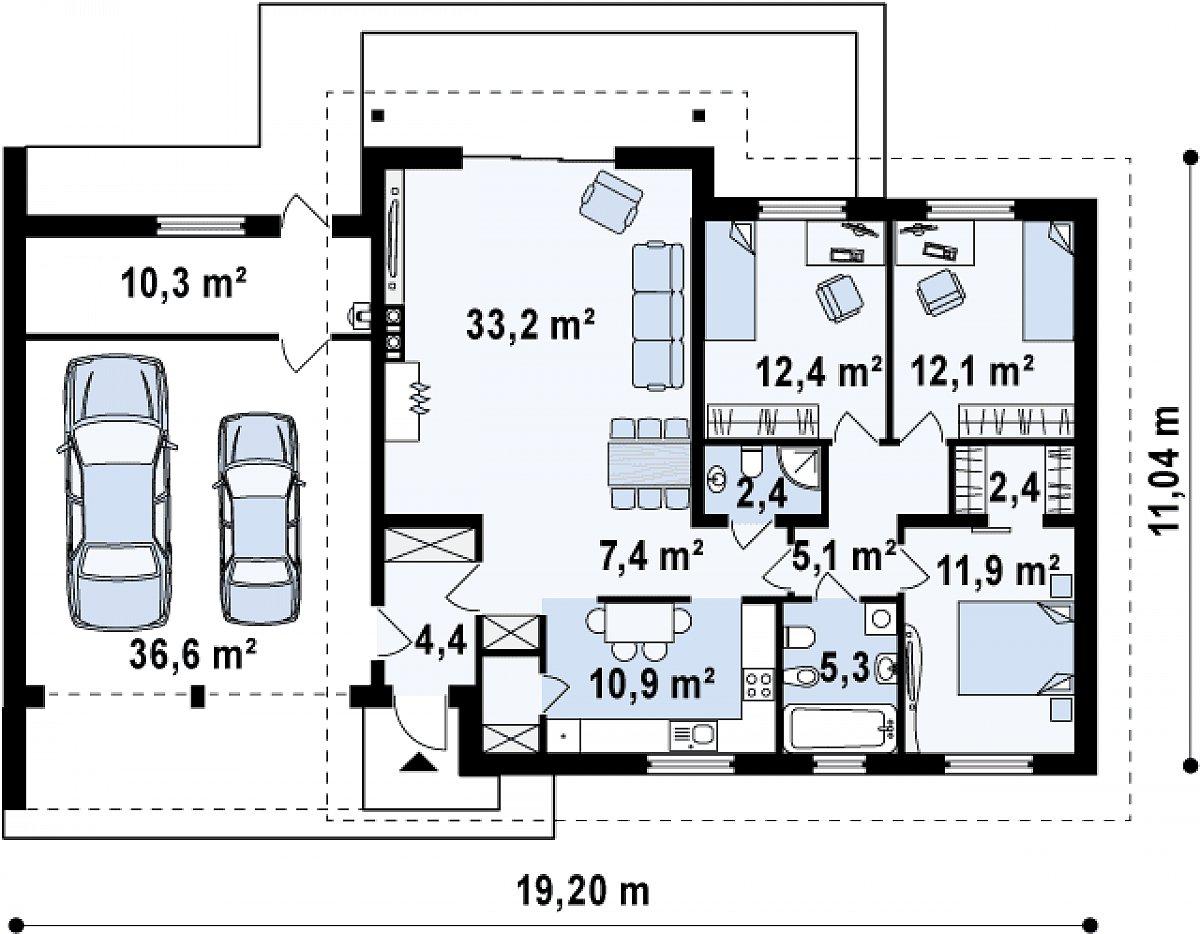 Первый этаж 109,1(156,0м²) дома Z182