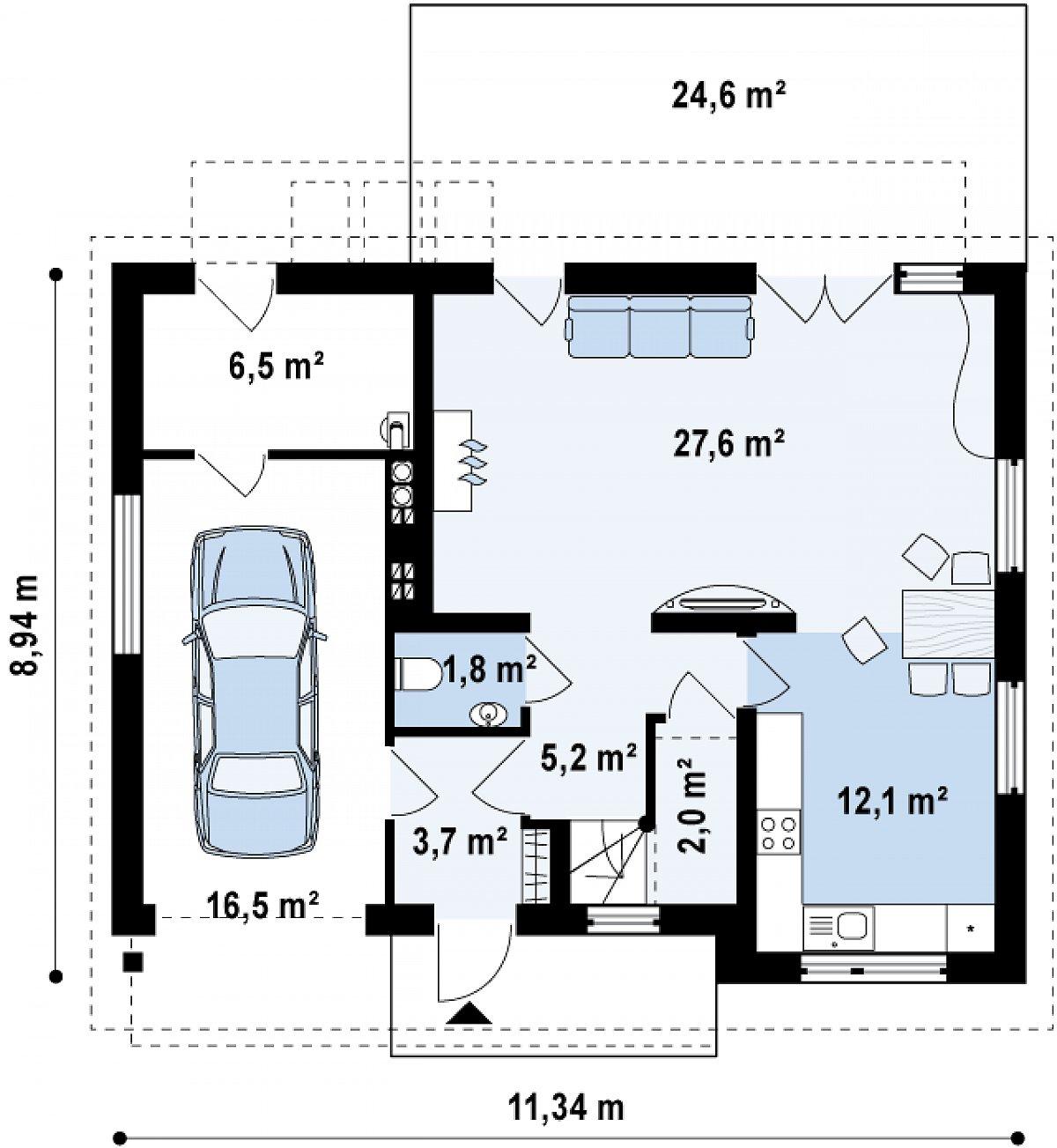 Первый этаж 52,4(75,4м²) дома Z183