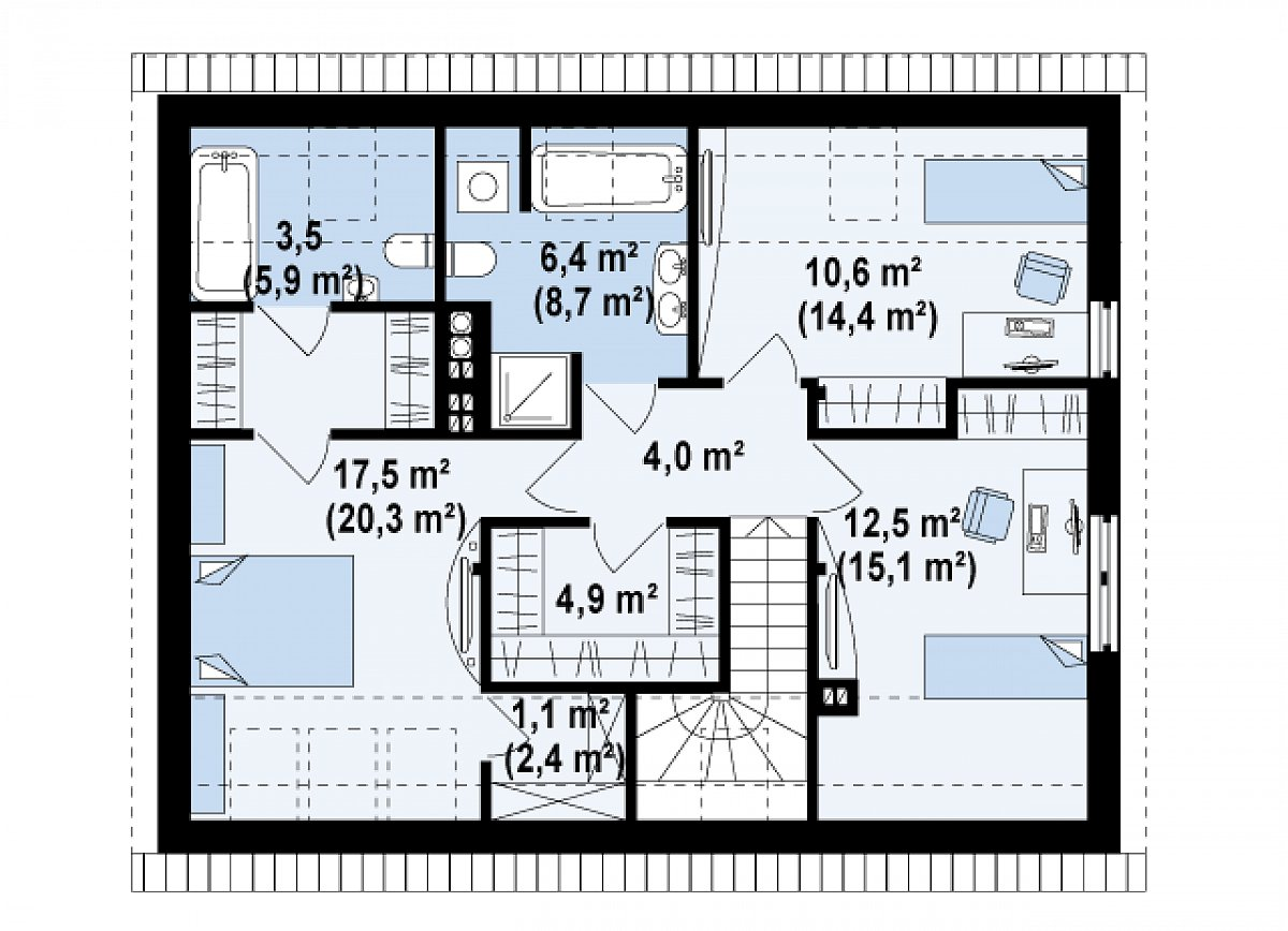 Второй этаж 60,5(75,7м²) дома Z183