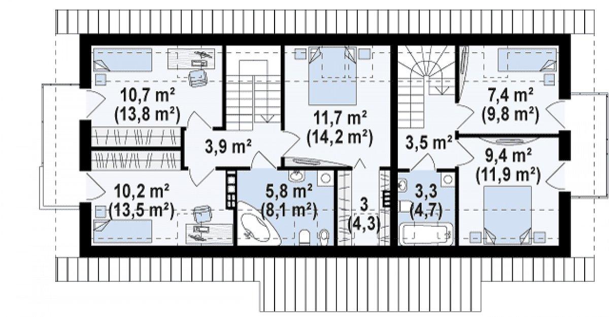 Второй этаж 65,8(87,8м²) дома Z184
