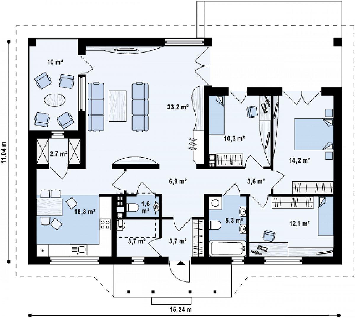 Первый этаж 110,9 м² дома Z185