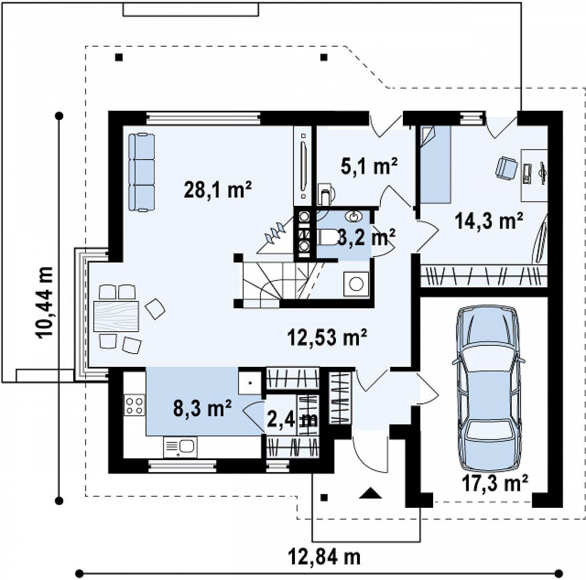 Первый этаж 74,5(91,8м²) дома Z186