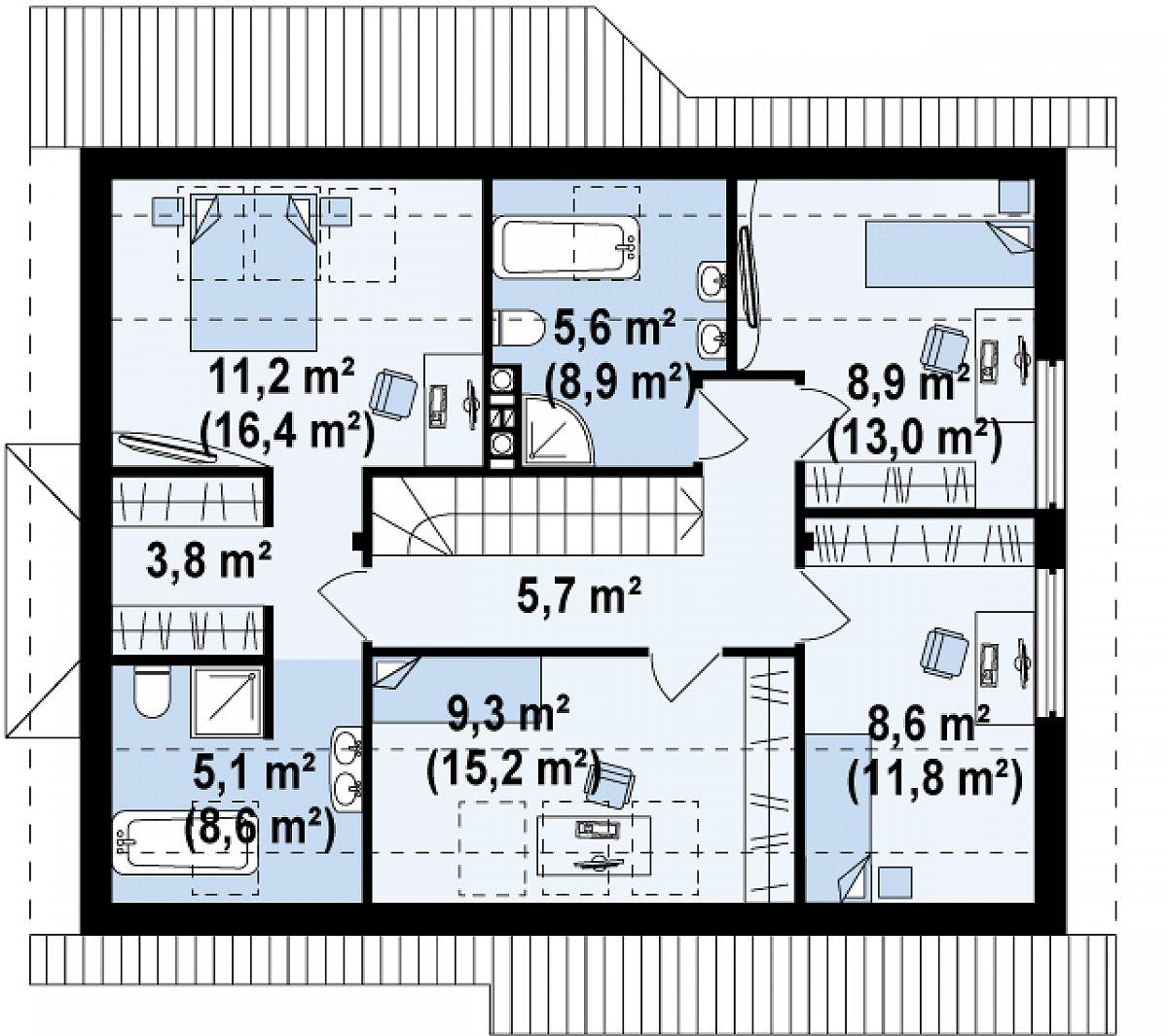 Второй этаж 58,2(83,4м²) дома Z186