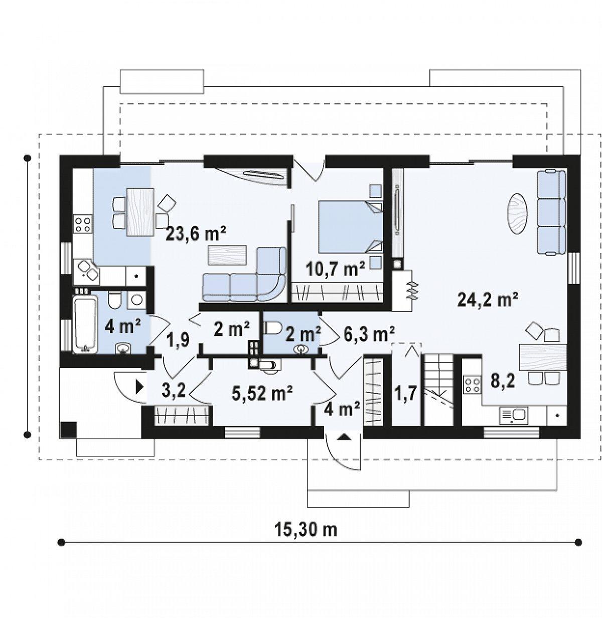 Первый этаж 97,2 м² дома Z187