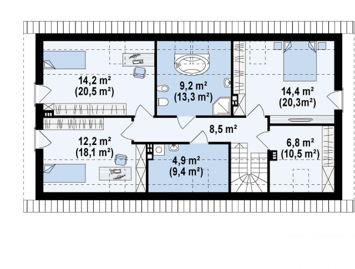 Второй этаж 70,1(100,5м²) дома Z187