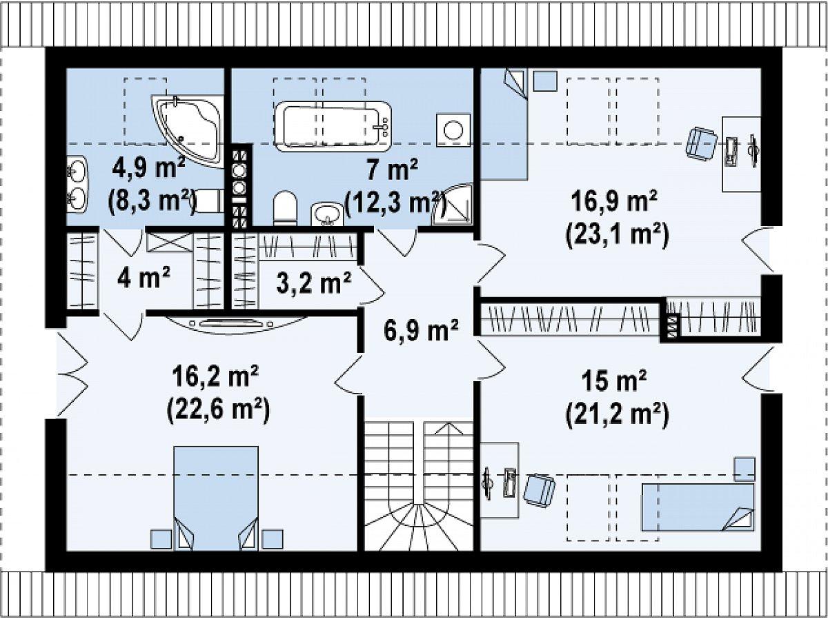 Второй этаж 74,1(101,8м²) дома Z188