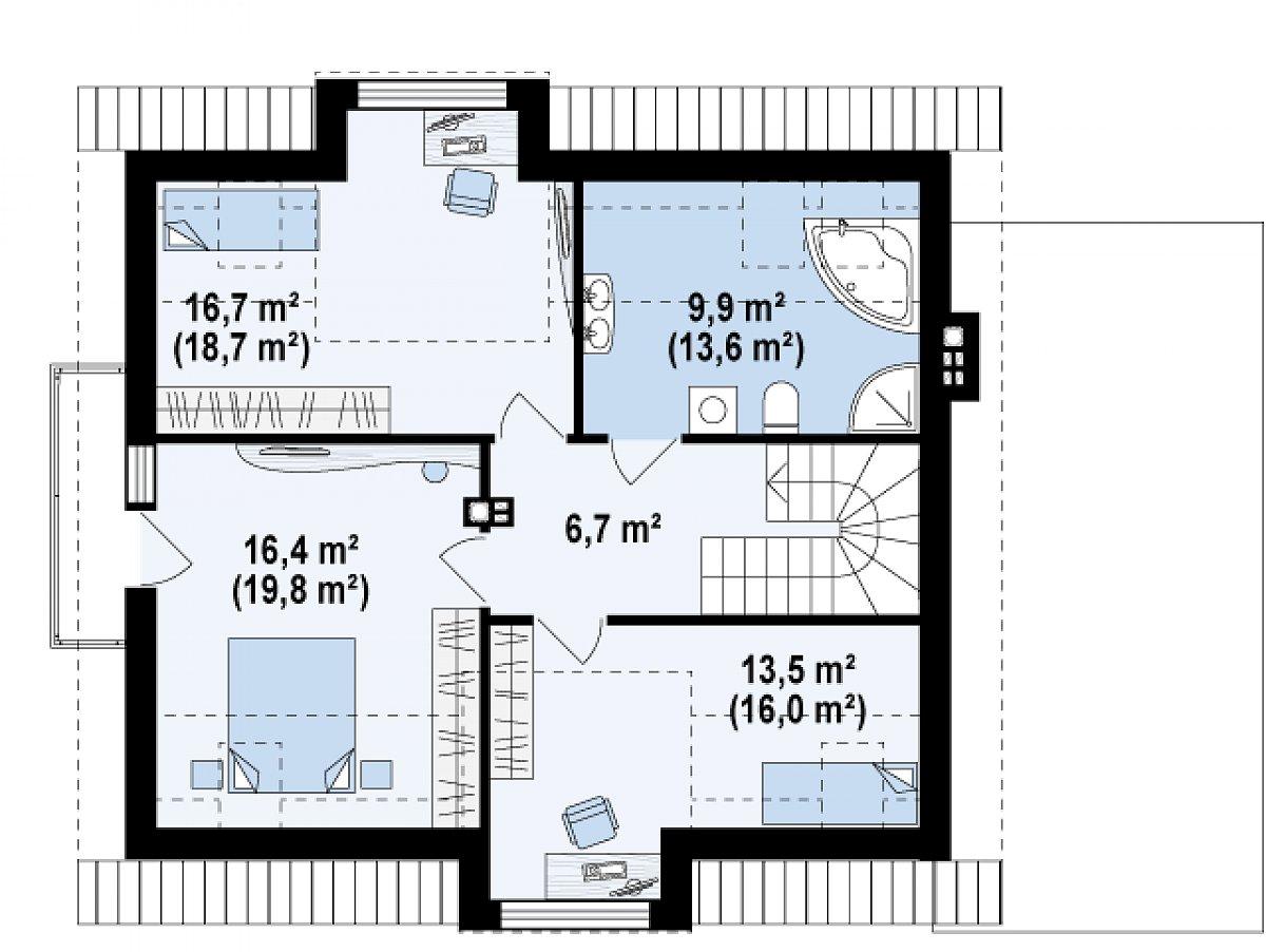Второй этаж 63,2(74,8м²) дома Z189