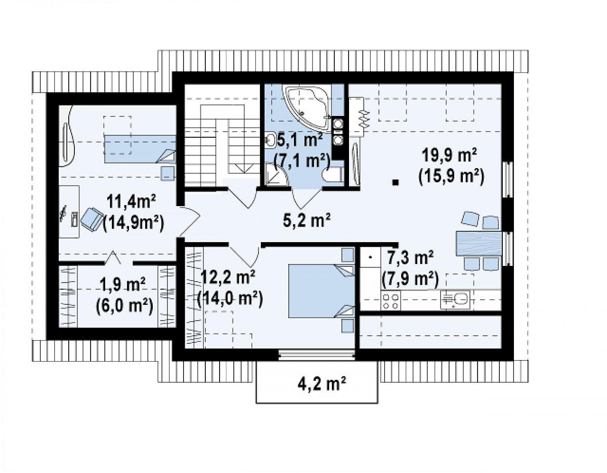 Второй этаж 58,9(74,9м²) дома Z192