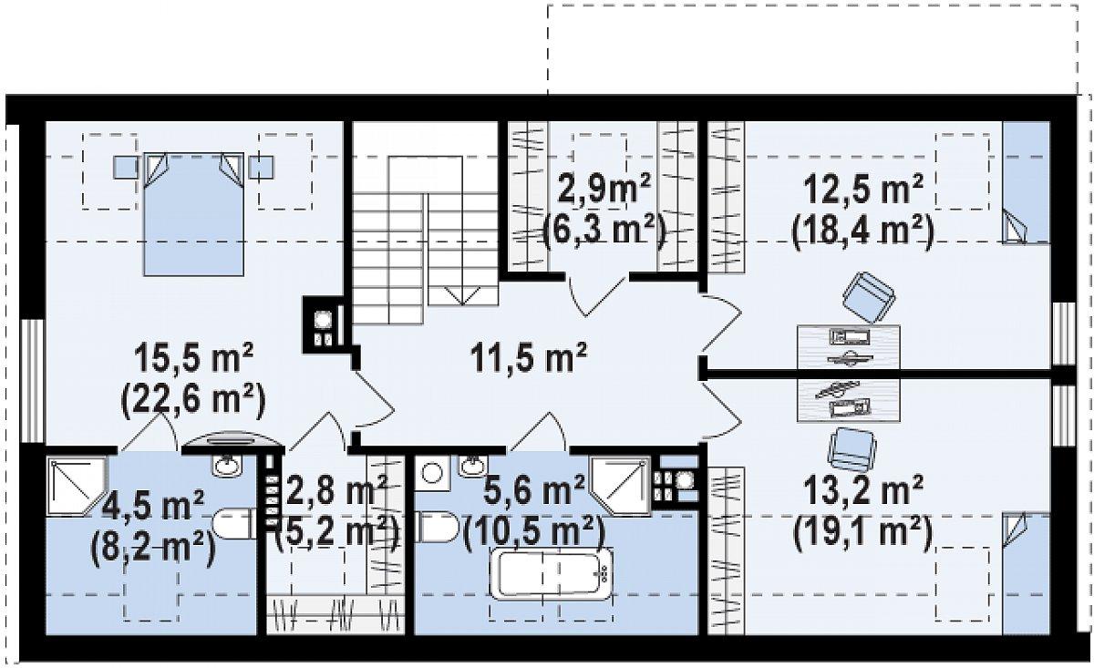 Второй этаж 68,1(99,6м²) дома Z193
