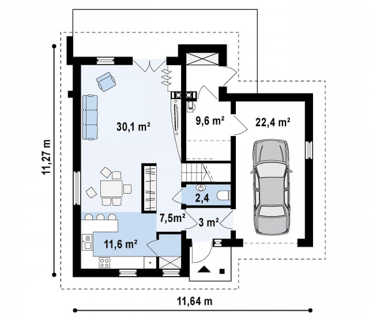 Первый этаж 64,3(86,7м²) дома Z197