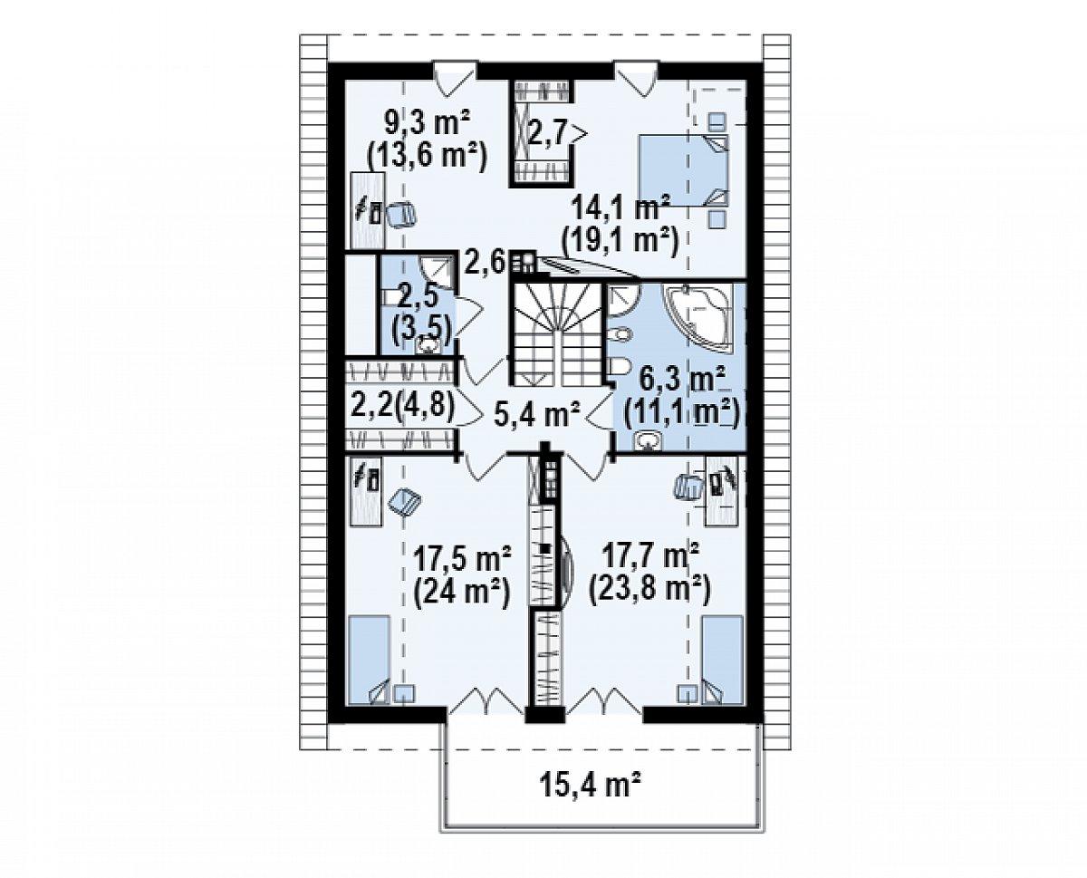 Второй этаж 81,2(110,7м²) дома Z198