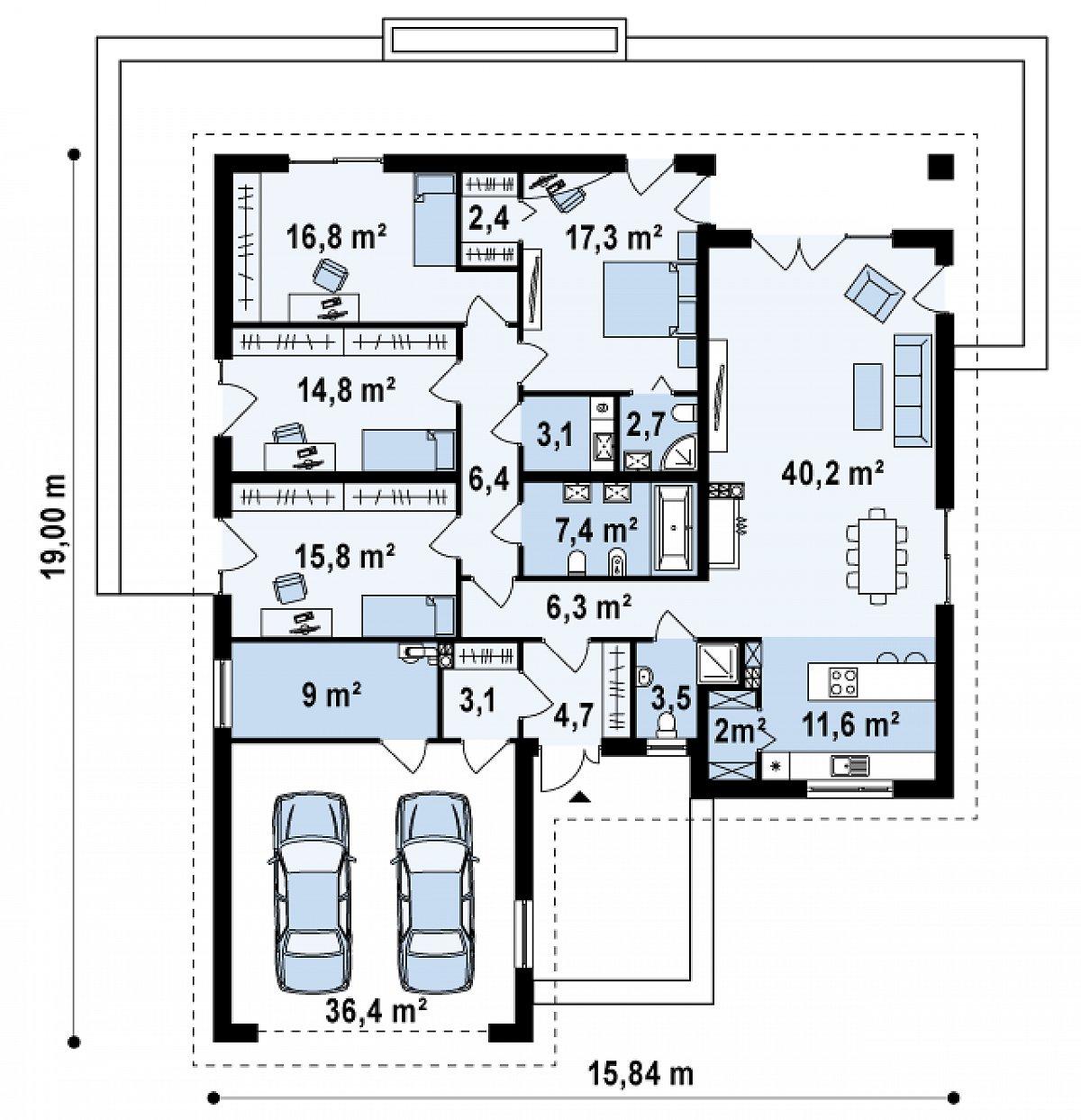 Первый этаж 171,1(207,4м²) дома Z199