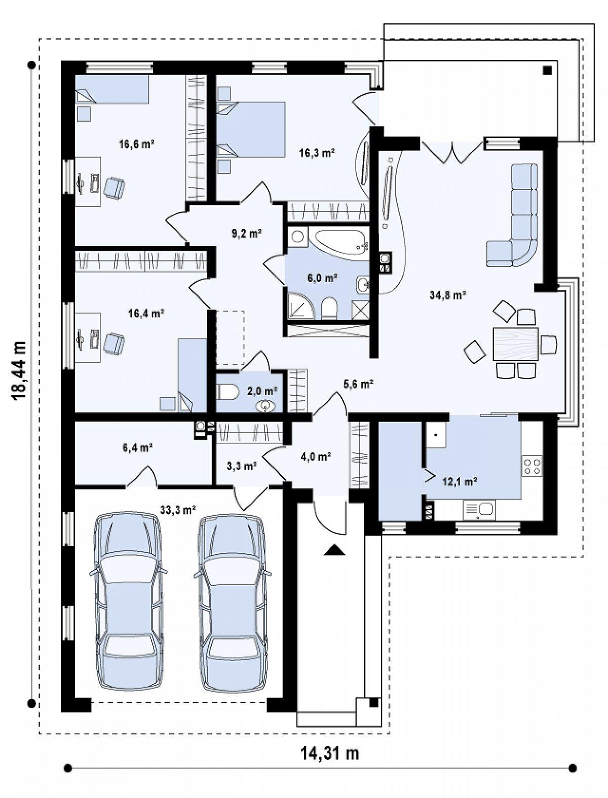 Первый этаж 132,8(166,1м²) дома Z200 k