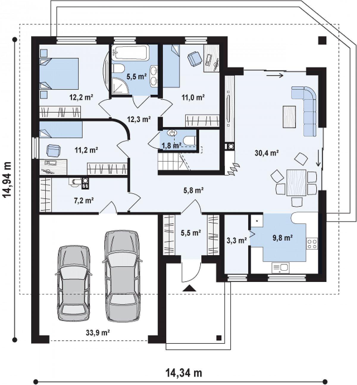 Первый этаж 108,8(149,9м²) дома Z202