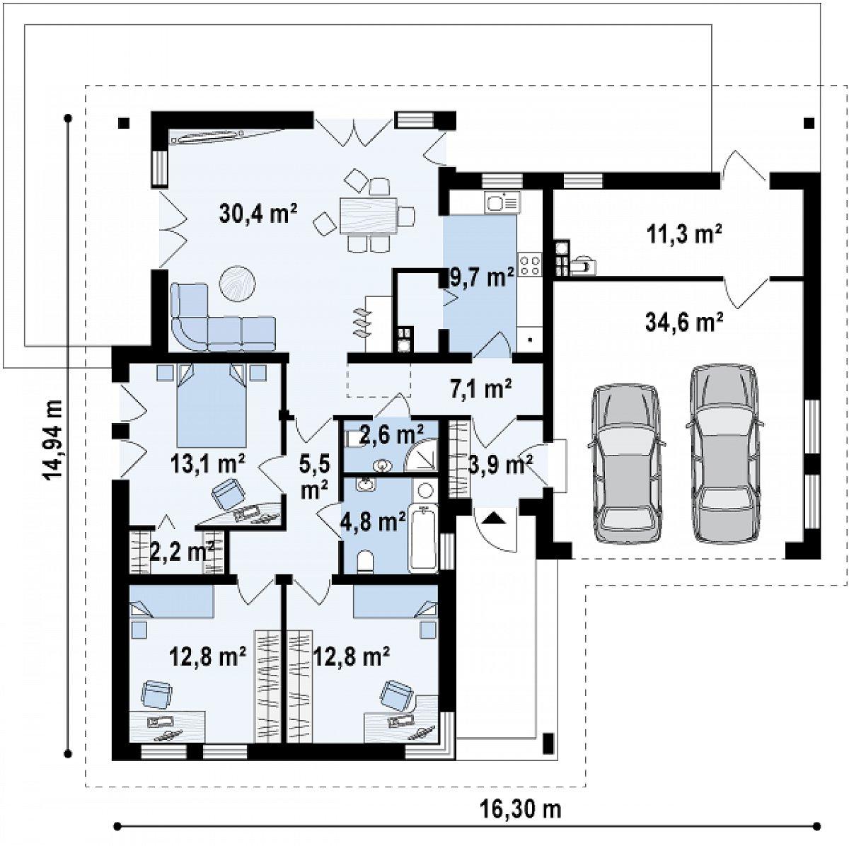 Первый этаж 104,6(150,4м²) дома Z204