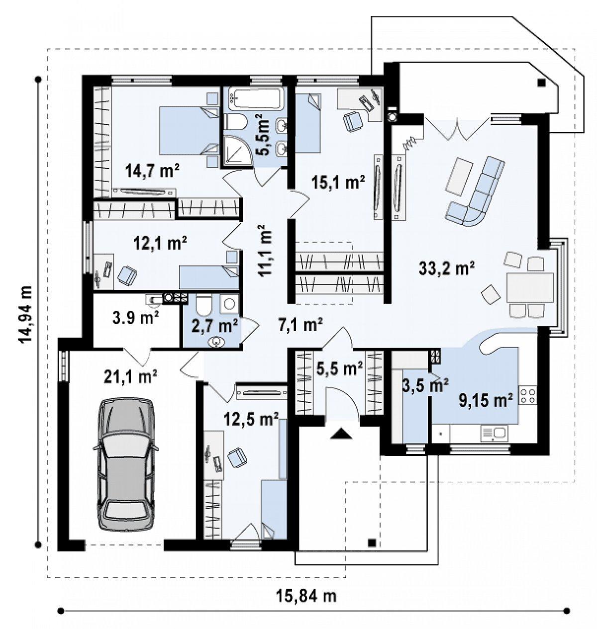 Первый этаж 133,5(159,3м²) дома Z205