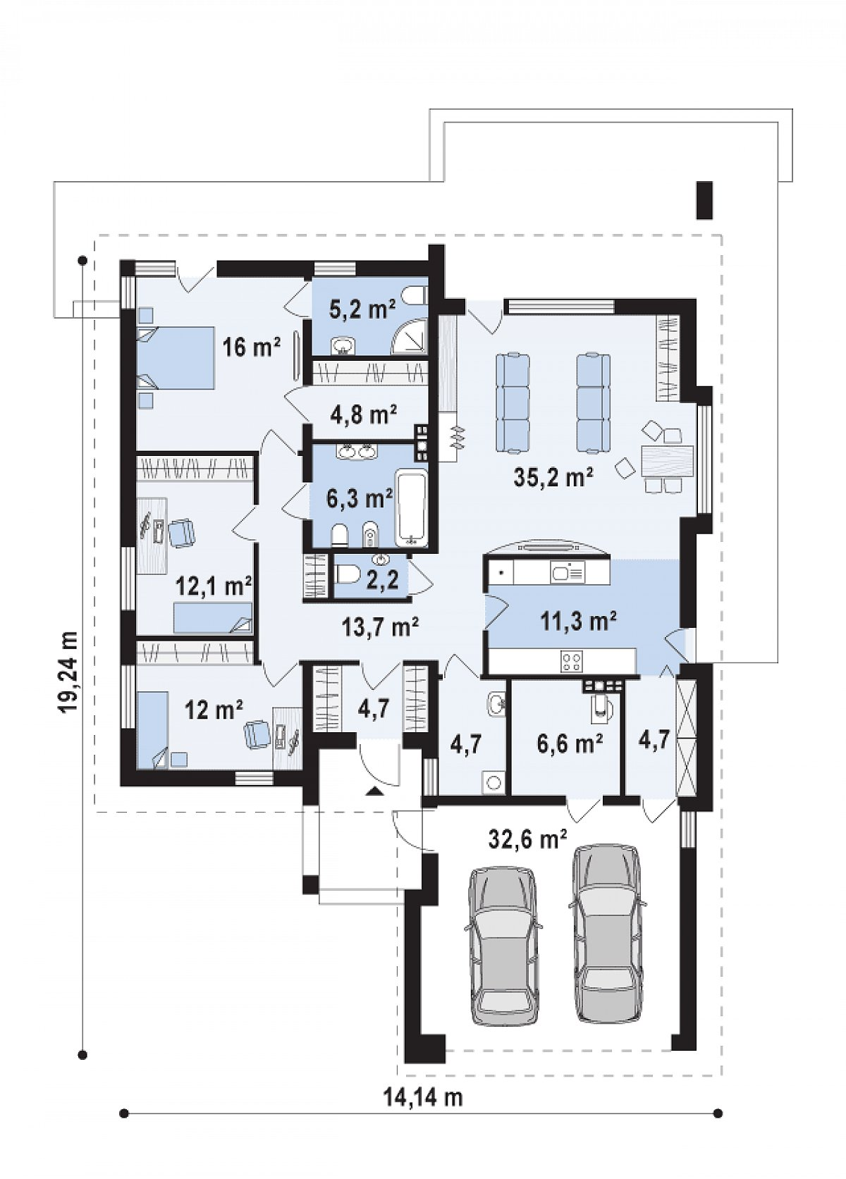 Первый этаж 139,6(172,3м²) дома Z206