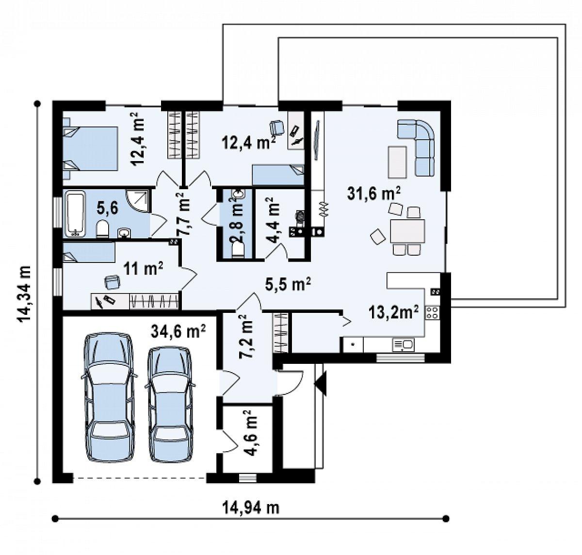 Первый этаж 118,5(153,0м²) дома Z208 A