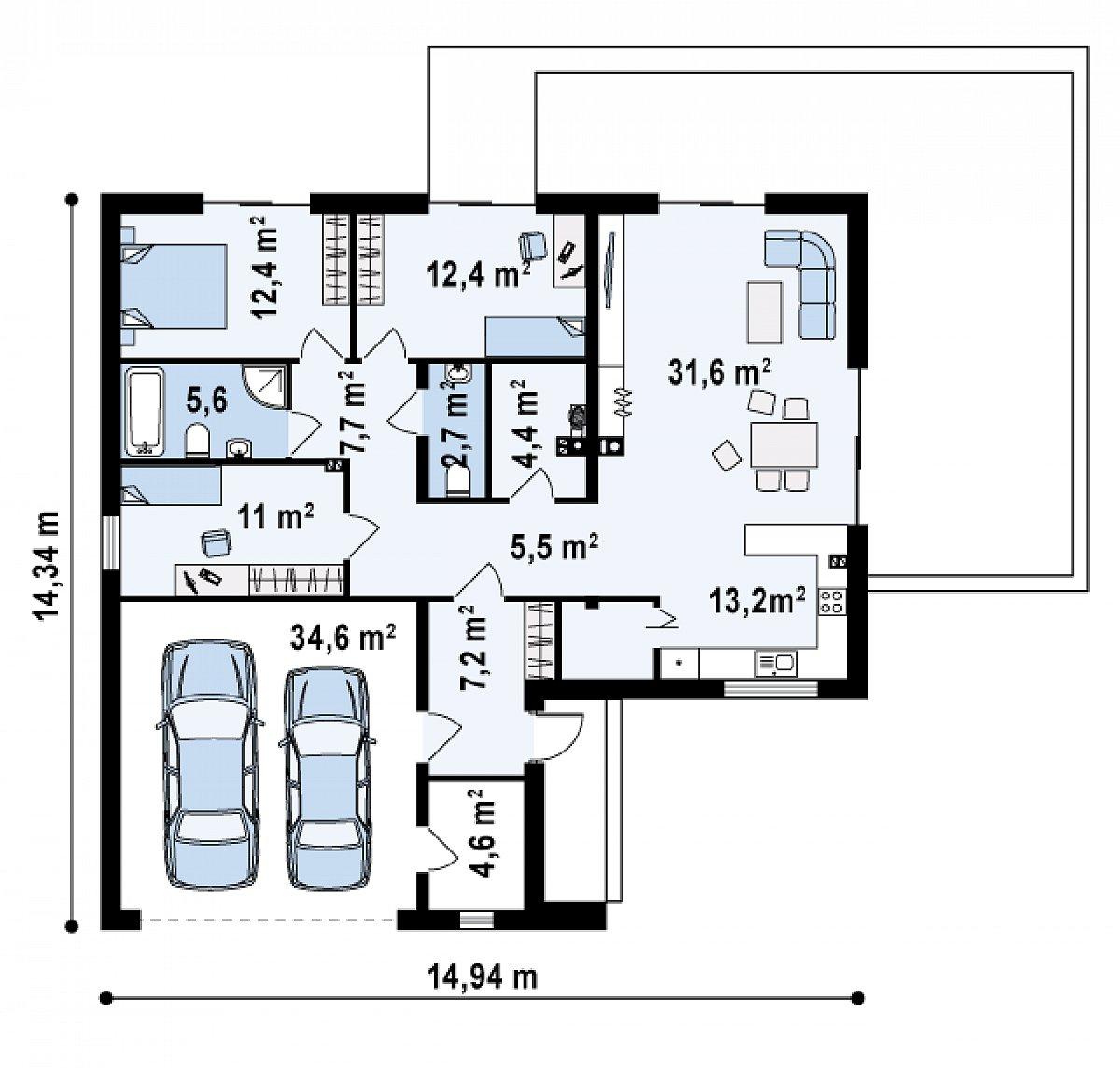 Первый этаж 118,5(153,0м²) дома Z208