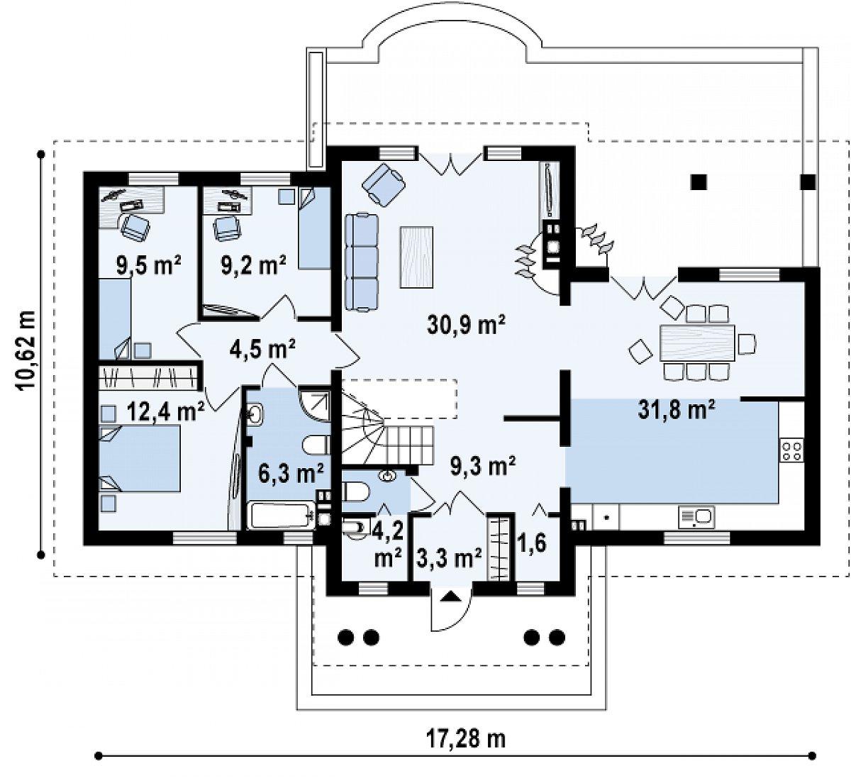 Первый этаж 123,1 м² дома Z20