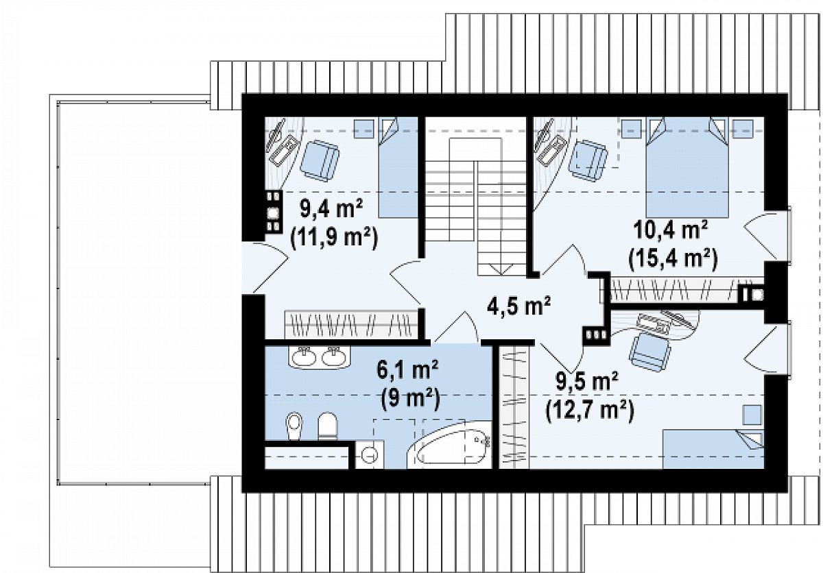 Второй этаж 39,8(53,5м²) дома Z210 GLt