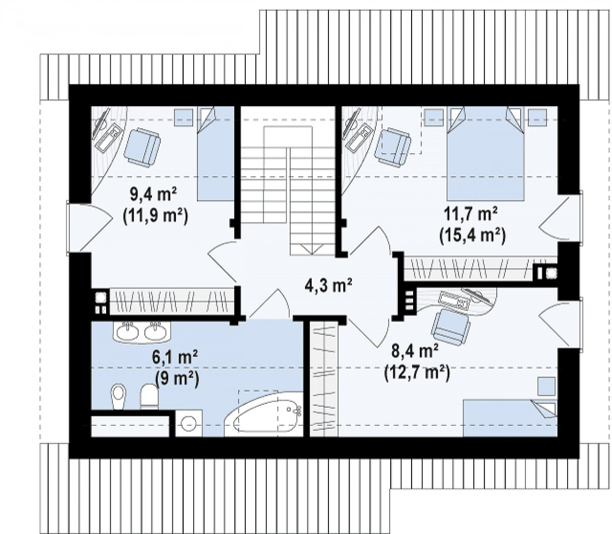 Второй этаж 39,9(53,3м²) дома Z210 v1