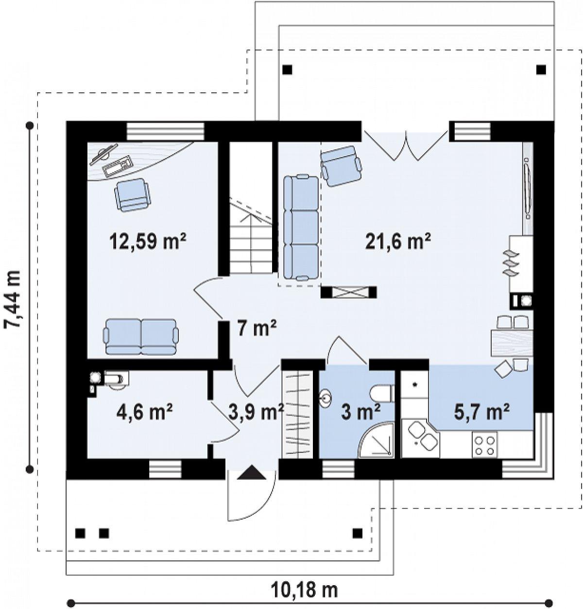 Первый этаж 58,4 м² дома Z210