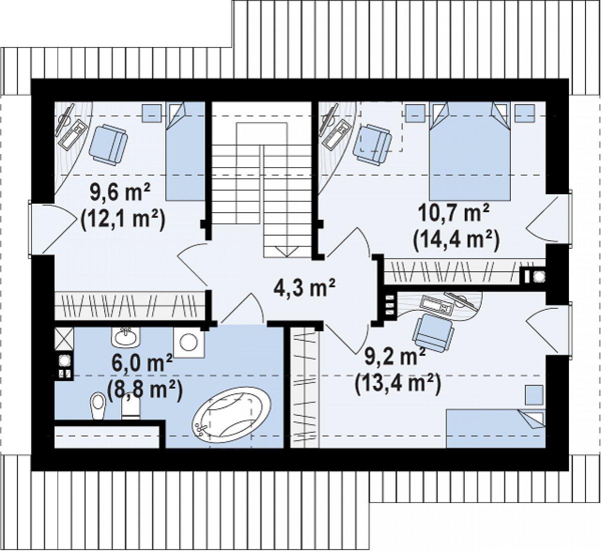 Второй этаж 39,8(53,1м²) дома Z210