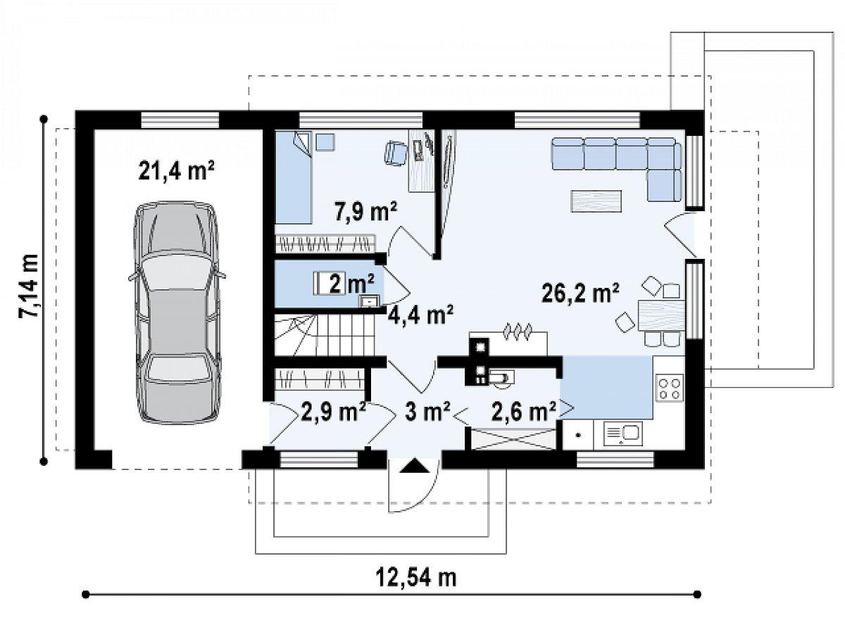 Первый этаж 49,0(70,4м²) дома Z211 GL
