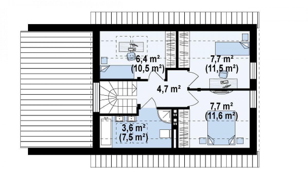 Второй этаж 30,1(45,7м²) дома Z211 GL