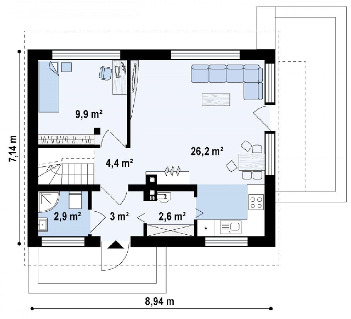 Первый этаж 49,1 м² дома Z211