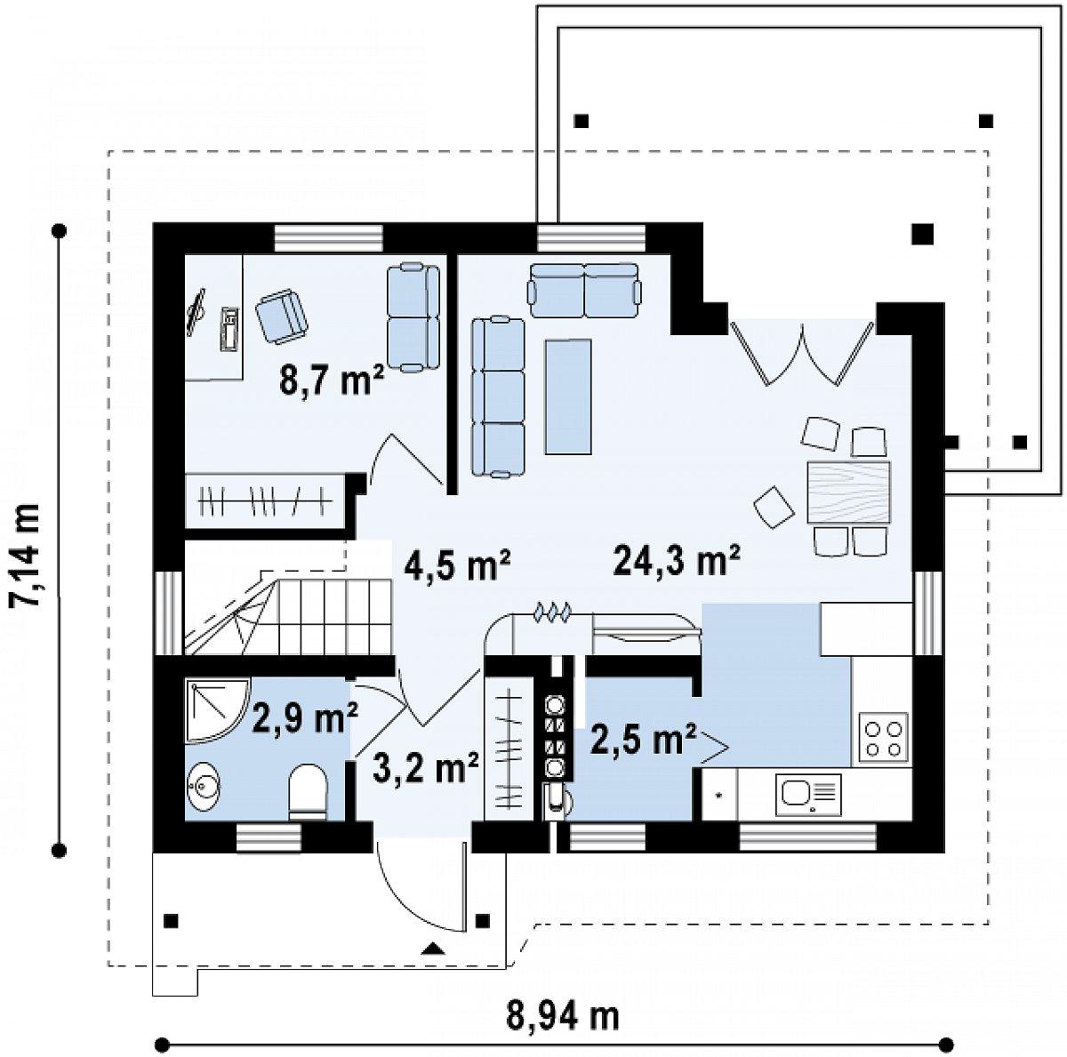 Первый этаж 46,2 м² дома Z212