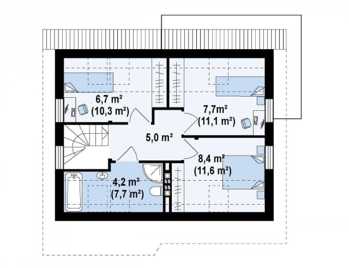 Второй этаж 32,0(45,6м²) дома Z212
