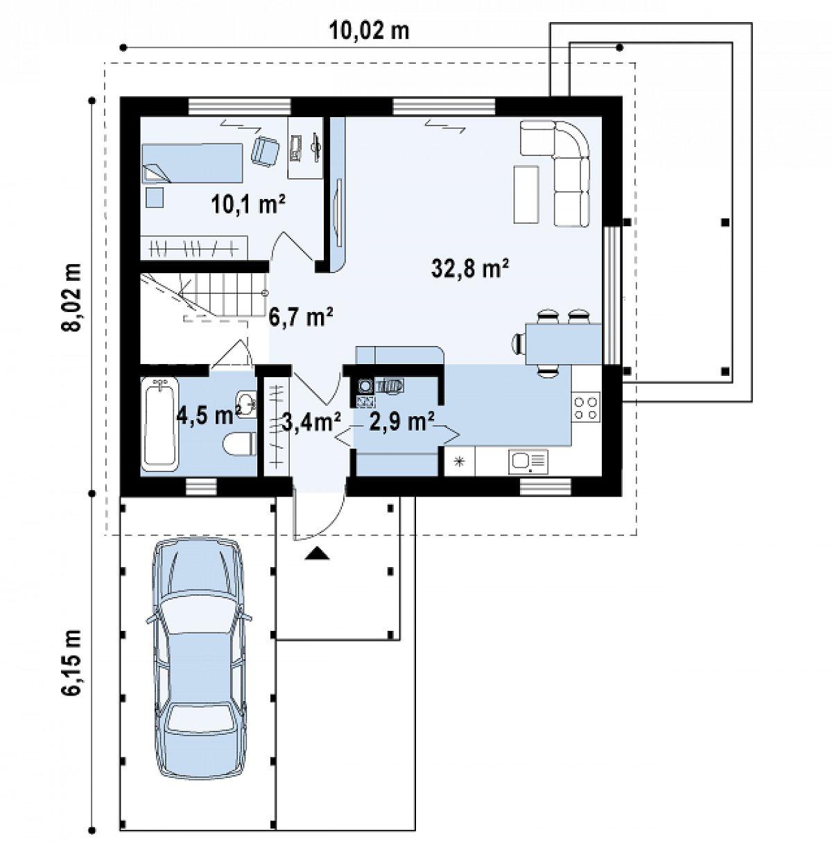 Первый этаж 60,4 м² дома Z213