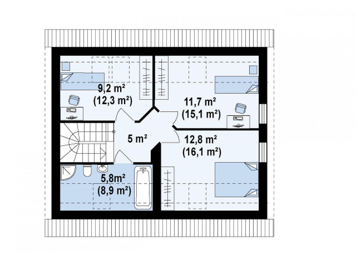 Второй этаж 44,5(57,5м²) дома Z213