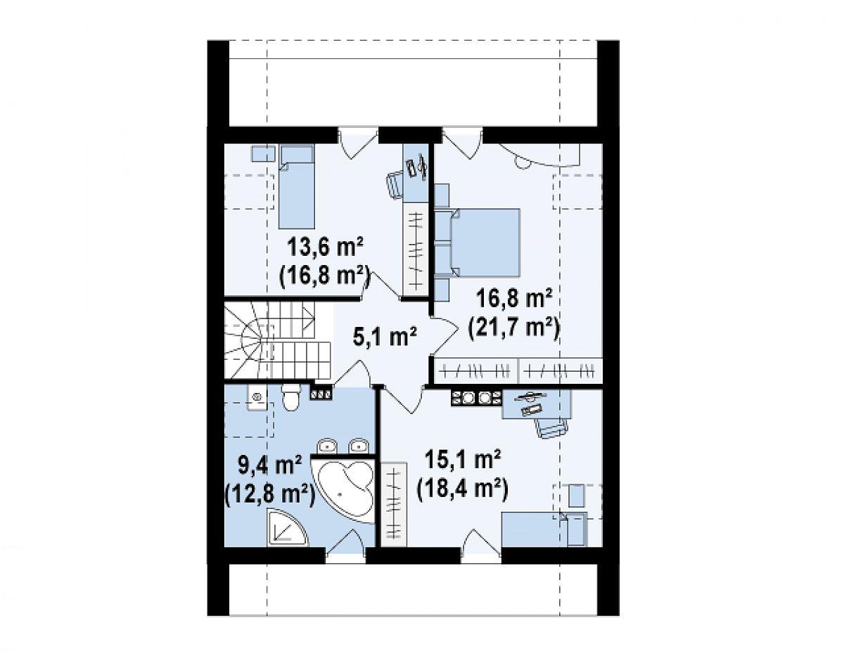 Второй этаж 59,9(74,7м²) дома Z215