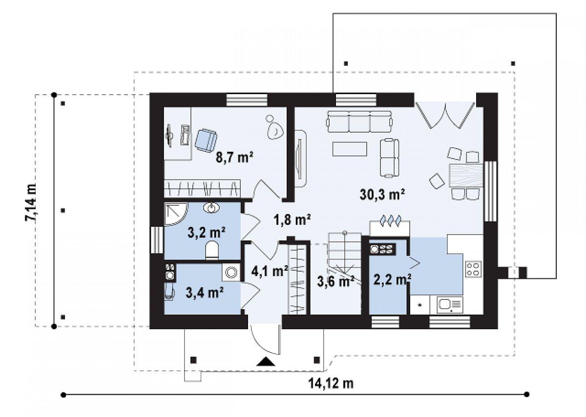 Первый этаж 57,3 м² дома Z216 +