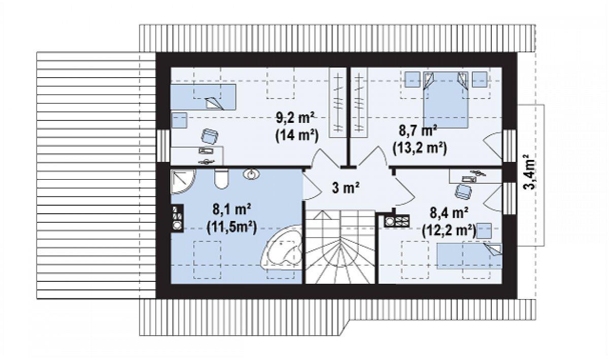 Второй этаж 37,3(54,0м²) дома Z216 +
