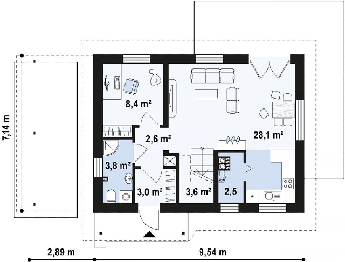 Первый этаж 52,0 м² дома Z216