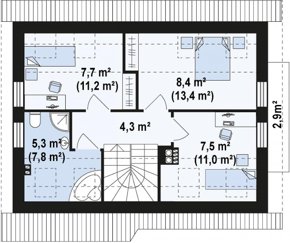 Второй этаж 32,8(47,7м²) дома Z216