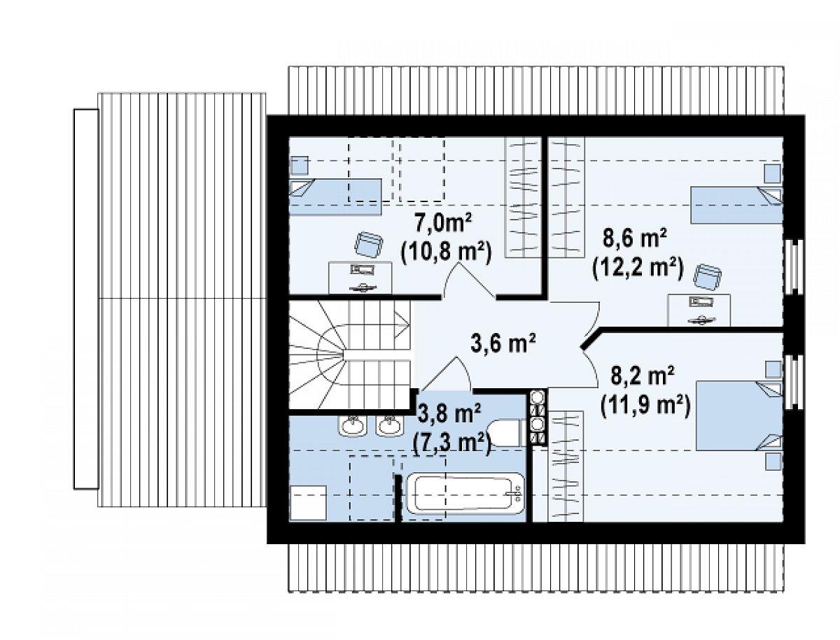 Второй этаж 31,1(45,9м²) дома Z217