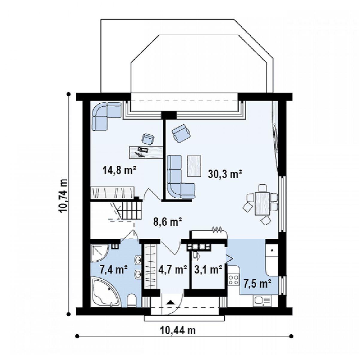 Первый этаж 76,4 м² дома Z218